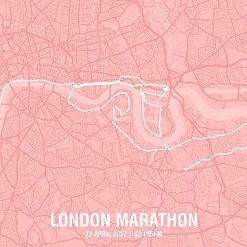 London Marathon Map - Pink by MishiInk