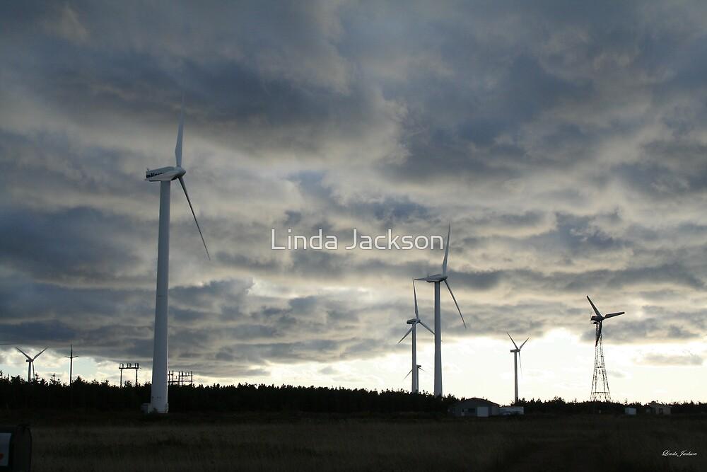 Windmill farm on Prince Edward Island by Linda Jackson