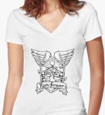 Run Forever - Feather Emblem. Women's Fitted V-Neck T-Shirt