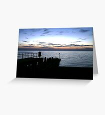 Aberystwyth Pier at sunset Greeting Card