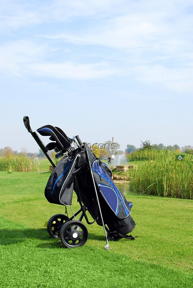 Golf scene with bag and golf club by goceris