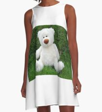 White teddy-bear sitting in grass A-Line Dress