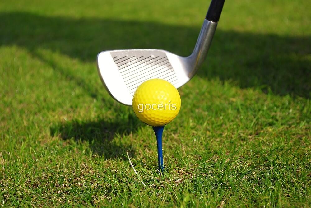 Yellow golf ball and golf club by goceris