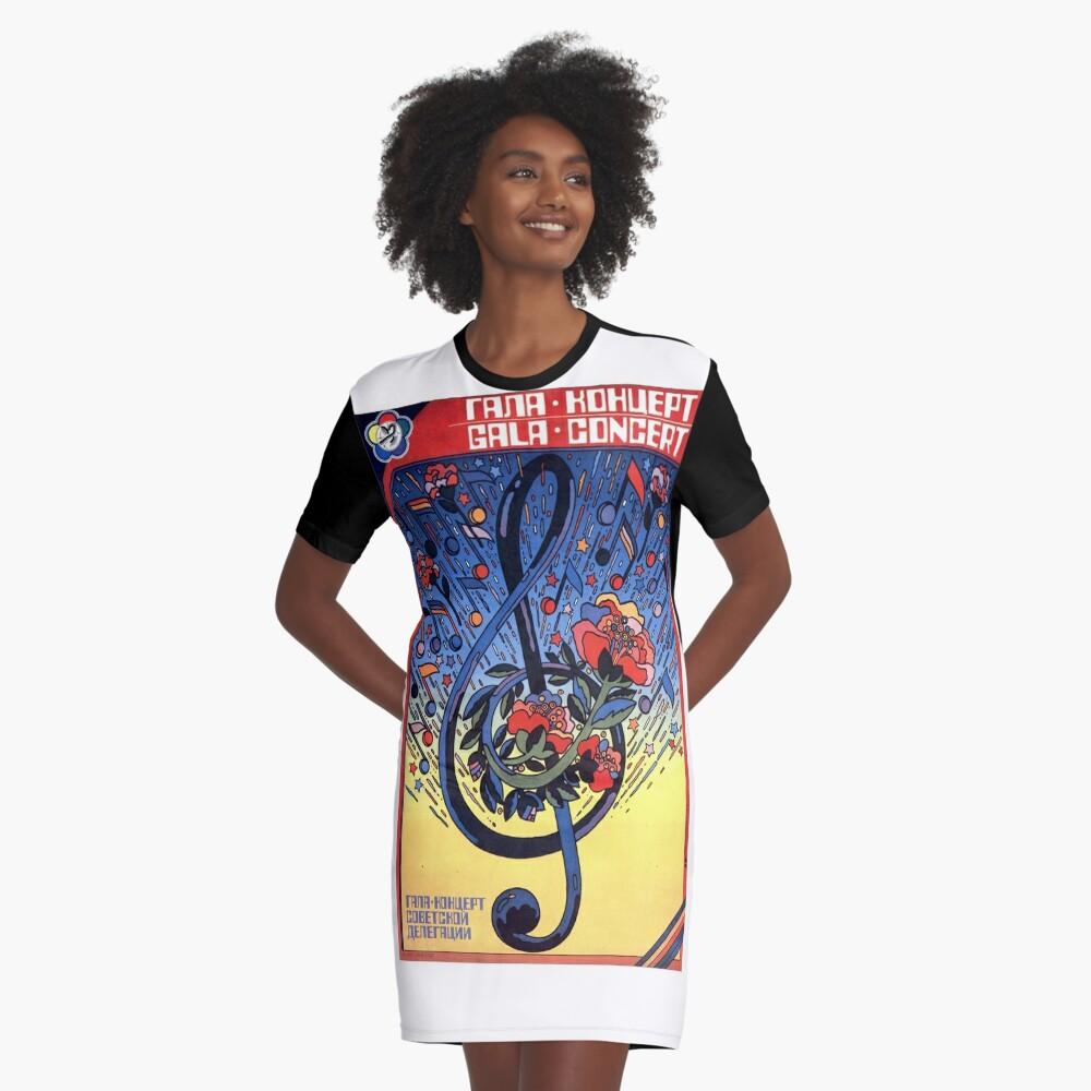 USSR CCCP Cold War Soviet Union Propaganda Posters Graphic T-Shirt Dress Front