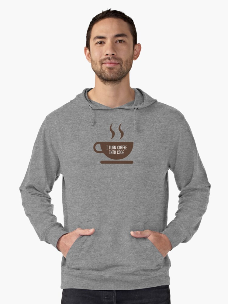 I Turn Coffee Into Code Lightweight Hoodie Front