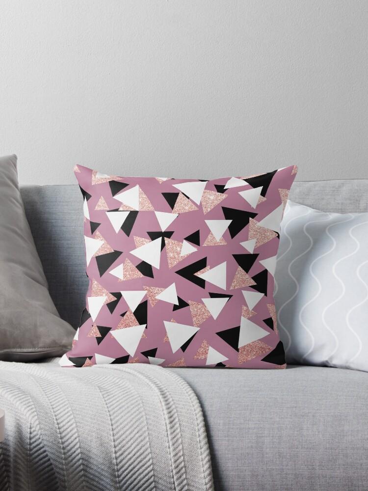 Elegant geometric triangles rose gold glitter by NaughtyCat