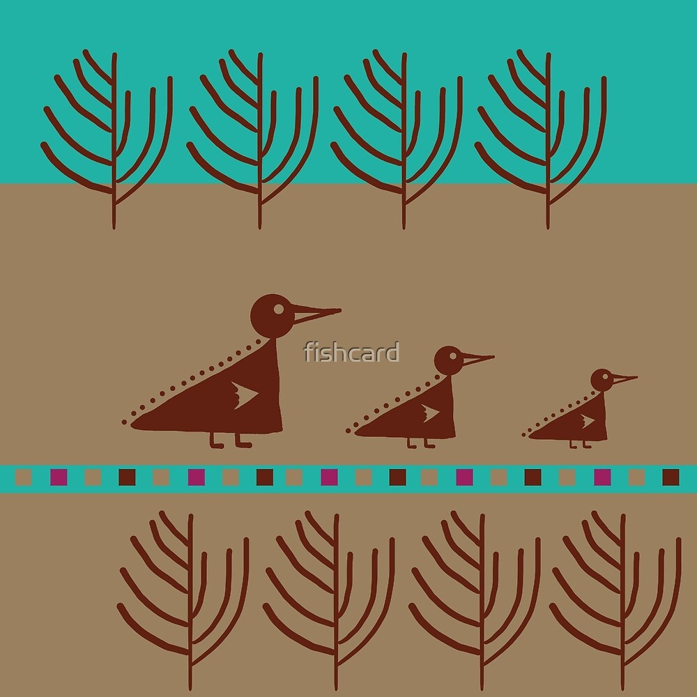 Cute brown ducks on blue and beige background by fishcard