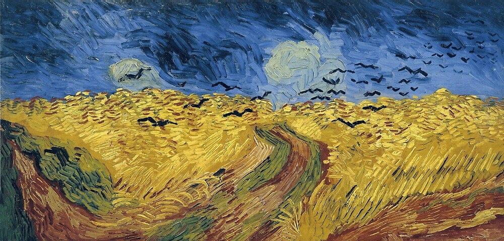 Original Vincent Willem van Gogh Impressionist Art Painting Restored Black Birds Field by jnniepce