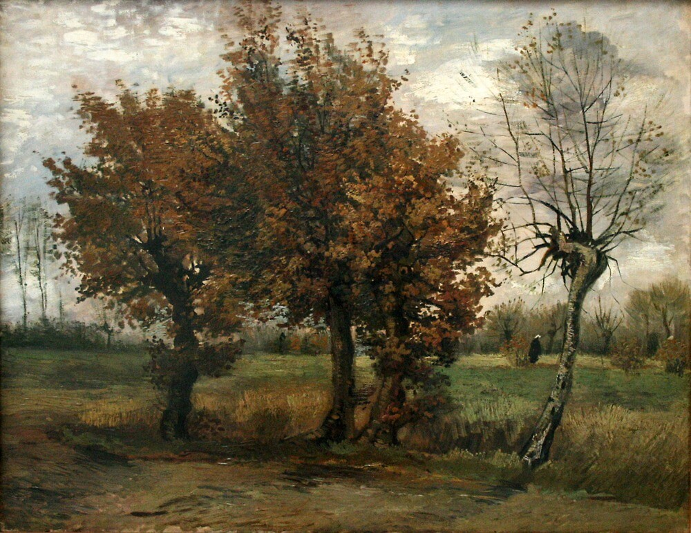 Original Vincent Willem van Gogh Impressionist Art Painting Restored Autumn Landscape by jnniepce
