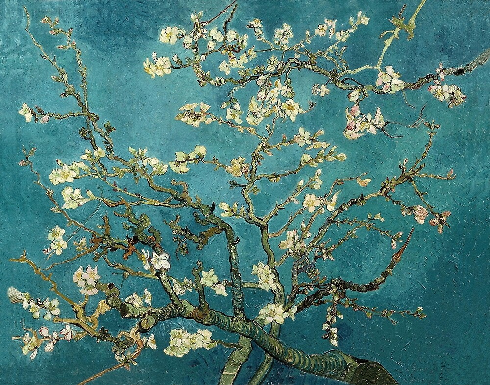 Original Vincent Willem van Gogh Impressionist Art Painting Restored Blossoming Almond Tree by jnniepce