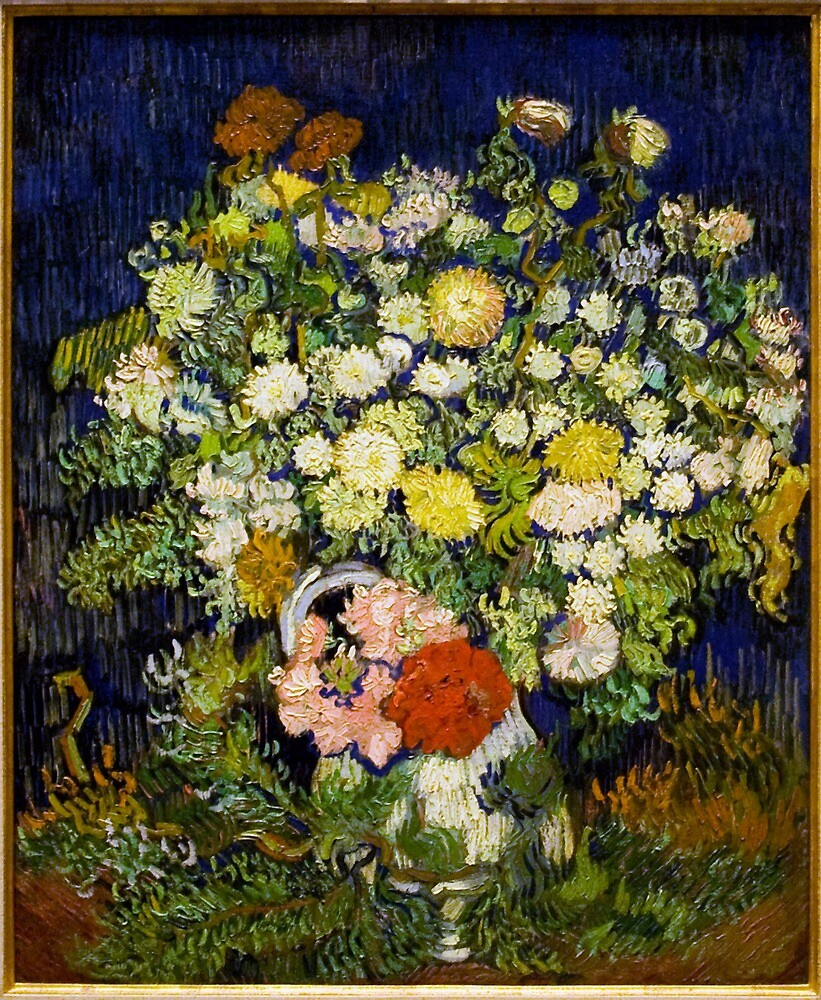 Original Vincent Willem van Gogh Impressionist Art Painting Restored Bouquet of Flowers in a Vase by jnniepce