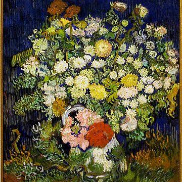 Original Vincent Willem van Gogh Impressionist Art Painting Restored Bouquet of Flowers in a Vase by jnniepce