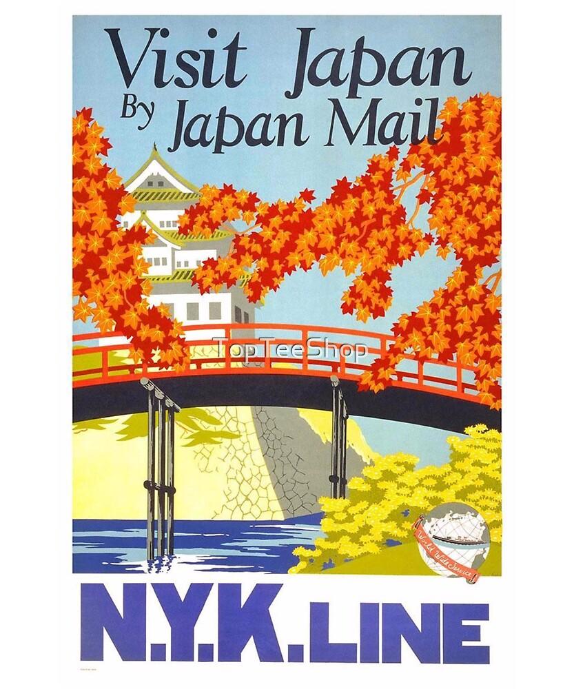 Vintage Japan T-Shirt Visit Japan Retro Travel Poster by TopTeeShop
