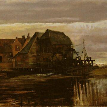 Original Vincent Willem van Gogh Impressionist Art Painting Restored House Fisherman by jnniepce