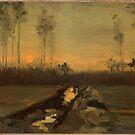 Original Vincent Willem van Gogh Impressionist Art Painting Restored Landscape by jnniepce
