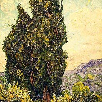 Original Vincent Willem van Gogh Impressionist Art Painting Restored Cypresses by jnniepce