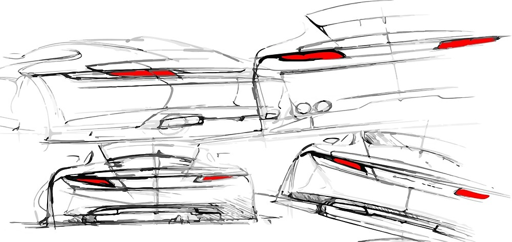 Sports Car Design Sketch on White by tfmotorworks