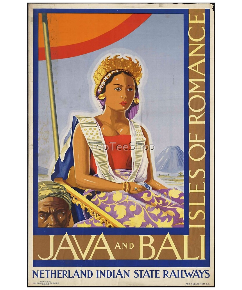 Vintage Bali & Java T-Shirt Isles of Romance Retro Poster by TopTeeShop
