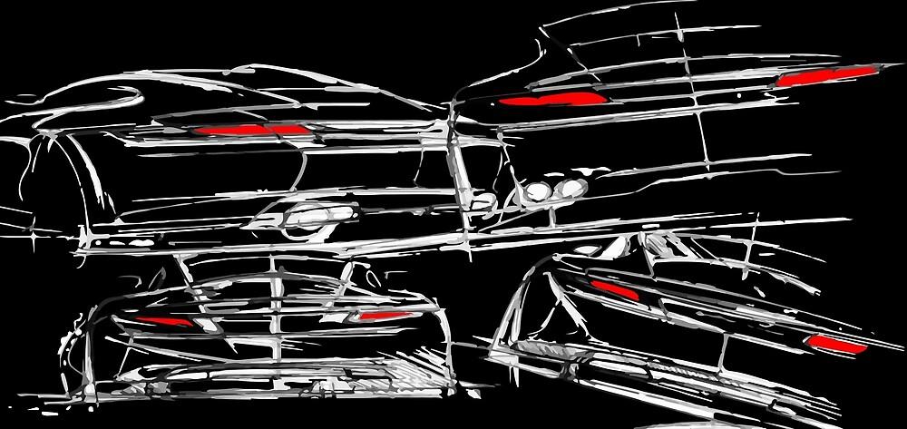 Sports Car Design Sketch on Black by tfmotorworks