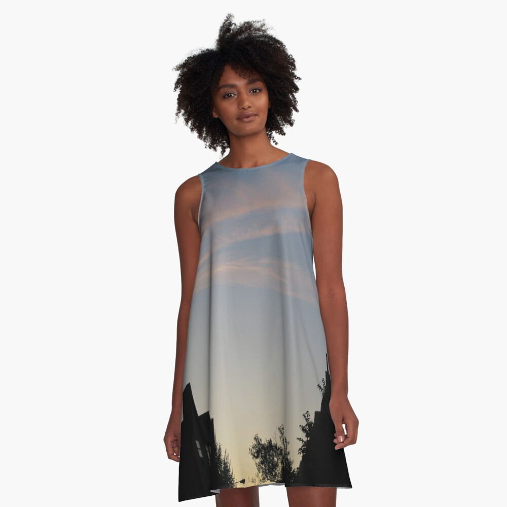 Night, Sky, Buildings, Trees A-Line Dress Front