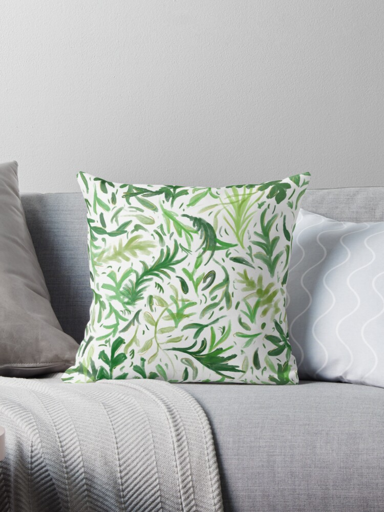 Watercolor Green Leaves Pattern  by Thubakabra