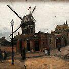 Original Vincent Willem van Gogh Impressionist Art Painting Restored Moulin de la galette by jnniepce