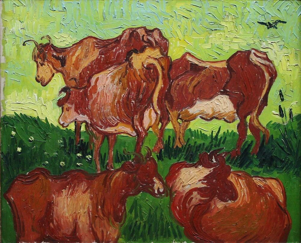 Original Vincent Willem van Gogh Impressionist Art Painting Restored Cows Les Vaches by jnniepce