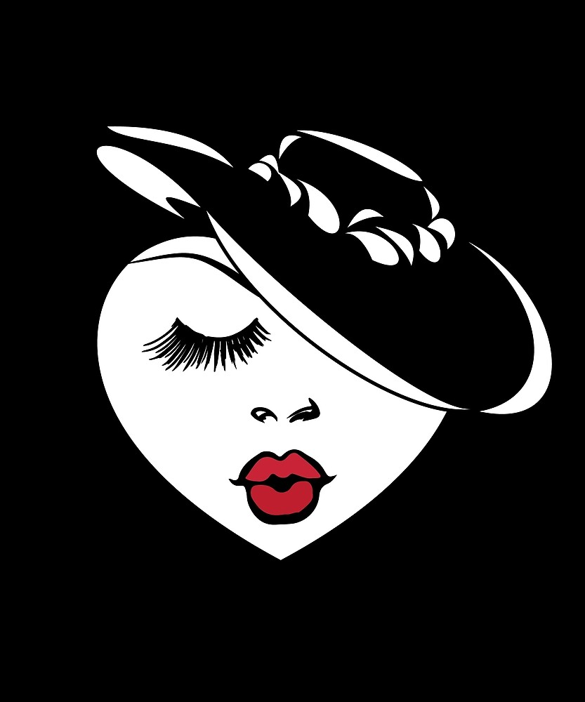 Valentines Day Gift Lady Heart w/ Red Lips & in a Retro Hat by peaktee