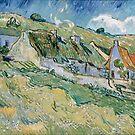 Original Vincent Willem van Gogh Impressionist Art Painting Restored Cottages by jnniepce