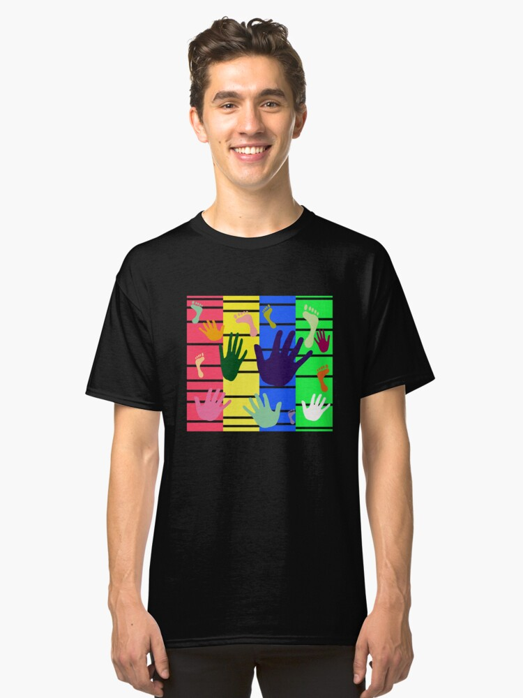 Colorful Hand and Foot Artwork Design    Classic T-Shirt Front