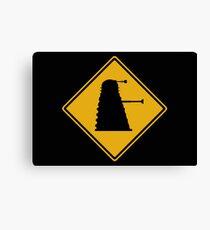 Dalek 1963 Silhouette Road Sign Canvas Print