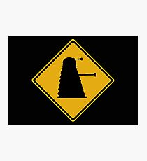 Dalek 1963 Silhouette Road Sign Photographic Print