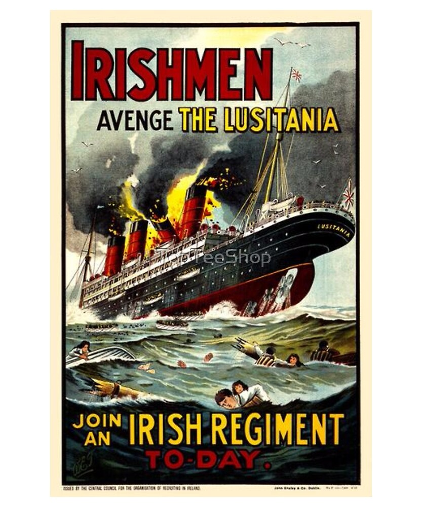 Irish WWI T-Shirt Ireland Britain Recruitment Vintage Poster by TopTeeShop