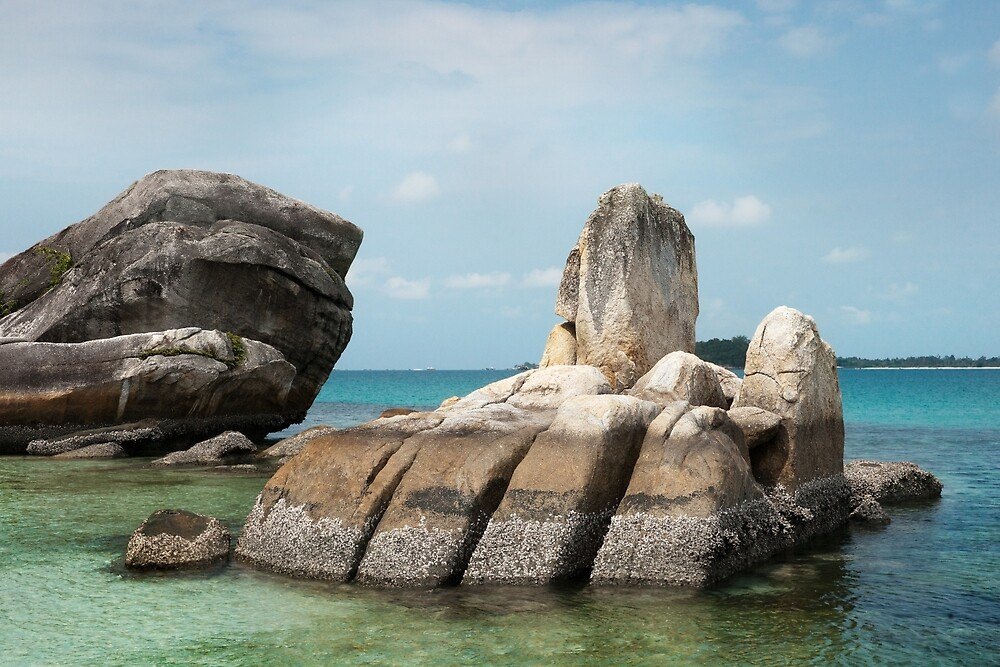 Rock formation in sea at Belitung Island. by Eduard Todikromo