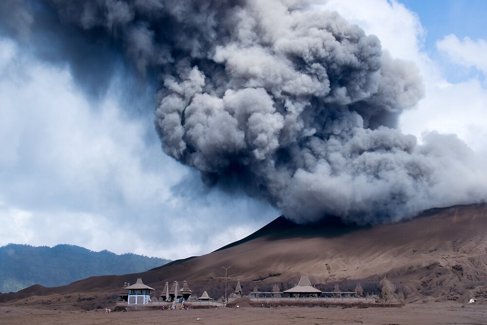 Smoke coming out of the active volcano Bromo. by Eduard Todikromo