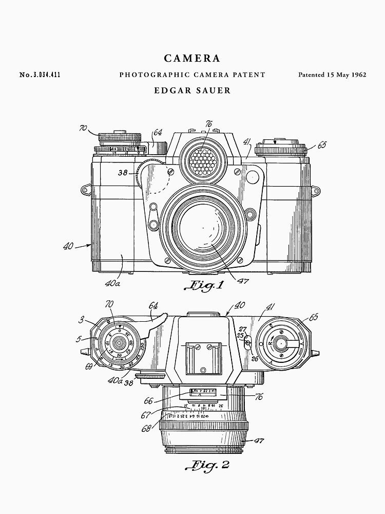 Camera Patent Drawing Blueprint by Vintago
