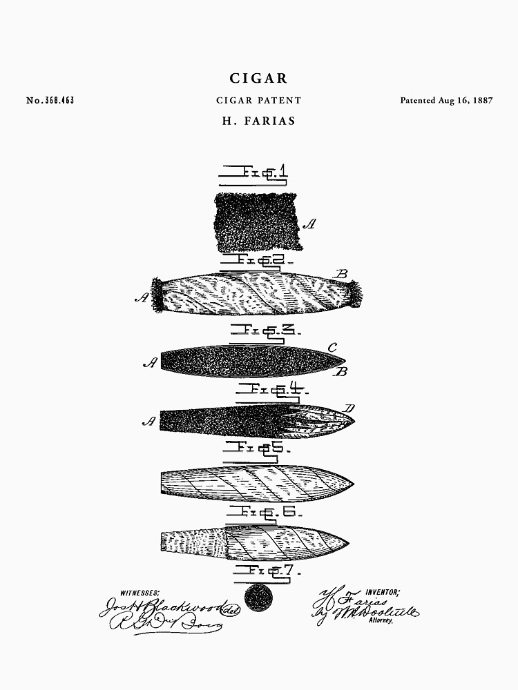 Cigar Patent Drawing Blueprint by Vintago