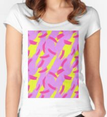 Neon Brush Stroke Pattern Women's Fitted Scoop T-Shirt