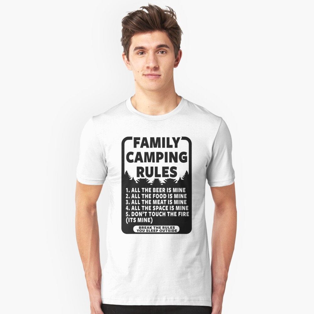 FAMILY CAMPING RULES Unisex T-Shirt Front