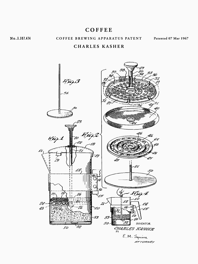 Coffee  Patent Drawing Blueprint by Vintago