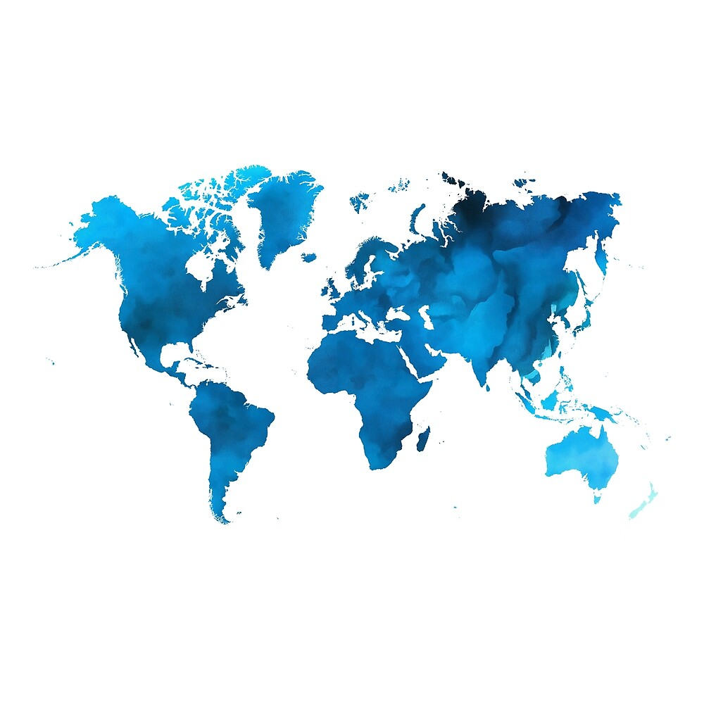 Blue Watercolor World Map by banginT