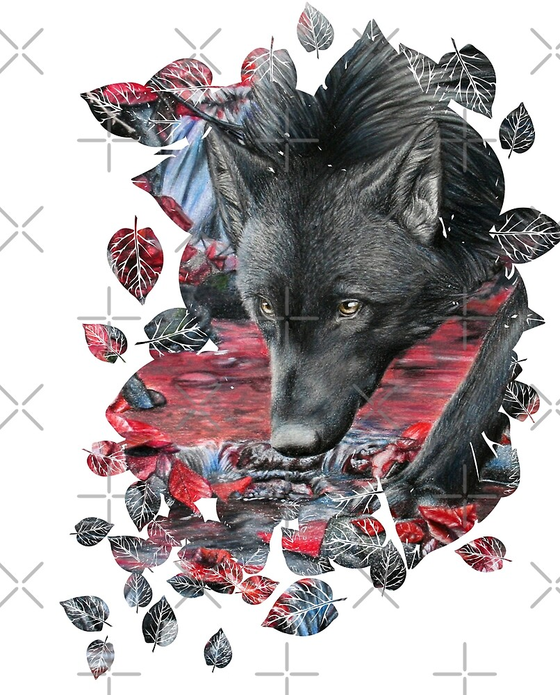 black wolf - leaf cut by Schiraki