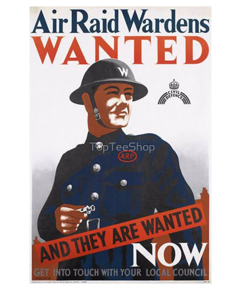 Vintage UK T-Shirt British WW2 Military War Air Raid Poster by TopTeeShop