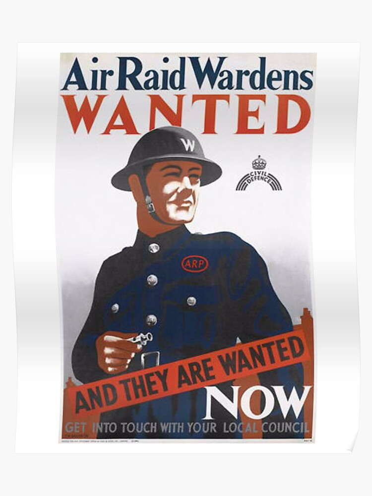 Vintage UK T-Shirt British WW2 Military War Air Raid Poster | Poster