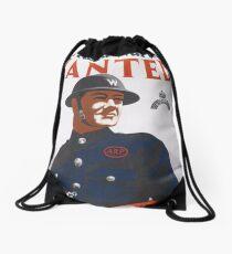 Vintage UK T-Shirt British WW2 Military War Air Raid Poster Drawstring Bag