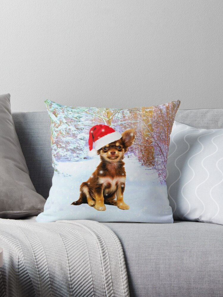 Let it Snow Christmas Holiday Chihuahua Dog Wearing Santa Hat by aashiarsh