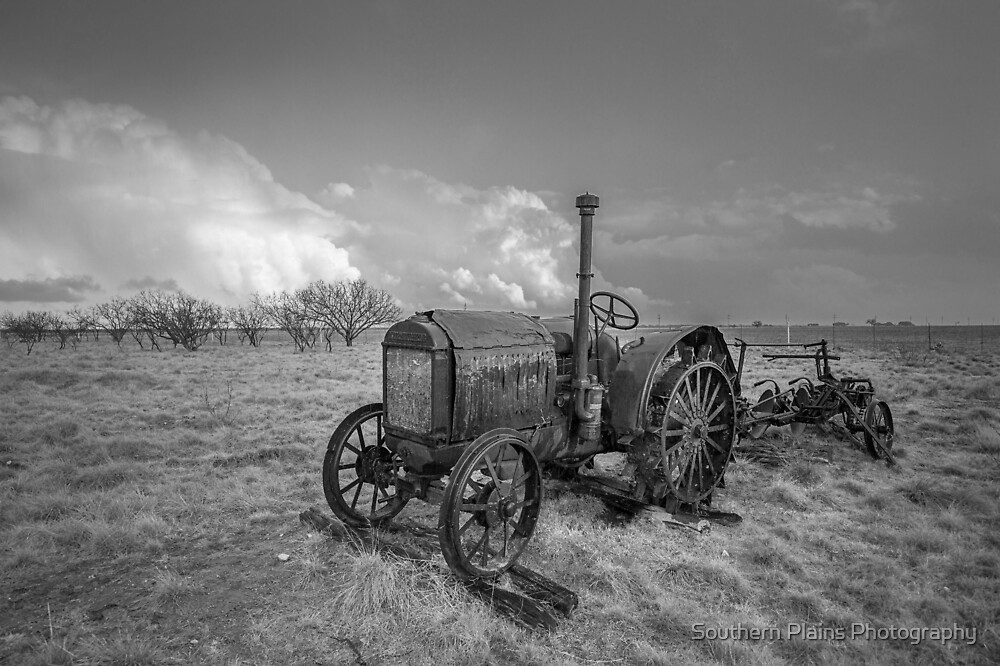 Rustic Tractor - Old Farm Tractor in Black and White by Sean Ramsey