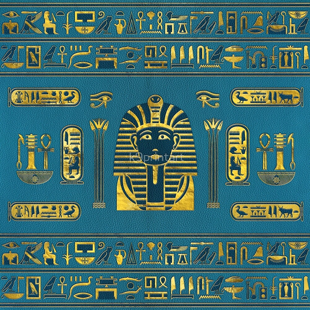 Gold Sphinx head with Egyptian hieroglyphs on blue leather by k9printart