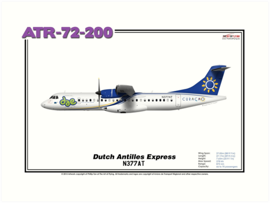 ATR 72-200 - Dutch Antilles Express (Art Print) by TheArtofFlying