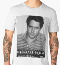 Painting of Hugh Grant Mug Shot 1995 Black And White Men's Premium T-Shirt